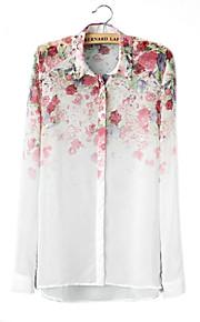 Skymoto ® Frauen Chiffion Blumen Langarm-Blusen