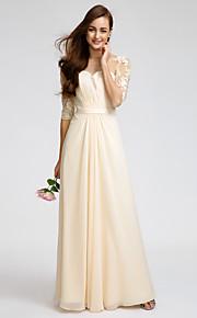Lan Ting Floor-length Chiffon Bridesmaid Dress - Champagne Sheath/Column Scoop