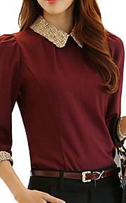 Langermet Bluse Skjortekrage Polyester Kvinner
