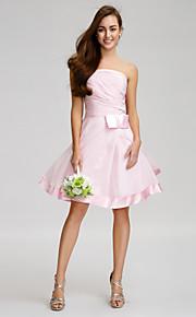 Lan TingKnee-length Chiffon Bridesmaid Dress - Blushing Pink A-line Strapless