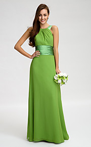 Lan TingFloor-length Chiffon Bridesmaid Dress - Clover Sheath/Column Straps