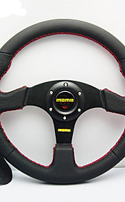universal 350mm 14 tommer bil auto momo modificeret ægte læder materiale bil løb rat med horn knap