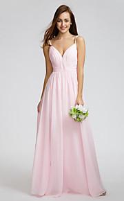 Lan TingKnee-length Chiffon Bridesmaid Dress - Blushing Pink A-line Spaghetti Straps
