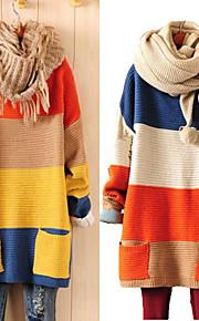 סוודר בלוק צבע כחול / כתום רופף, כיס השרוול של הנשים מזדמן הארוך