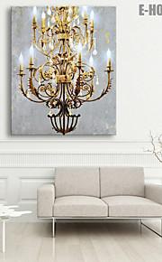 E-HOME® Stretched LED Canvas Print Art European Style Chandelier LED Flashing Optical Fiber Print One Pcs