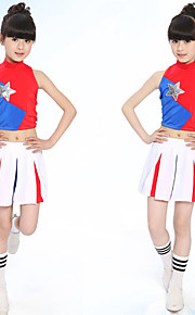 Cheerleader Costumes Outfits Children's Performance Cotton Pleated 2 Pieces Red Jazz Long Sleeve Skirt / Top