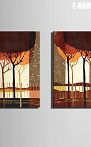 Landskap / Botanisk Lerret Print To paneler Klar til å henge , Lodrett