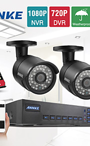 annke® 4-kanals CCTV-system 720p hdmi AHD cctv dvr 2stk 1,0 mp ir udendørs overvågningskamera 1200 TVL overvågningskamera systemet
