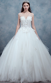 A-line Wedding Dress-Ivory Sweep/Brush Train Bateau Lace