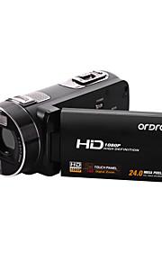 "ordro® HDV-Z8 1080p digitalt videokamera, 3 ""touch-TFT skærm, 16x digital zoom, fjernbetjening"