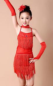 Latin Dance Outfits Children's Performance Spandex Milk Fiber Tassel(s) 4 Pieces Sleeves Dress NeckwearS :61 M :65 L:69 XL :73 XXL:77