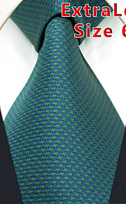 Men's Tie Green  Solid 100% Silk Business  Dress Casual Long