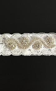Garter Lace Rhinestone Ivory