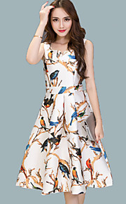Women's Vintage Print A Line Dress,Round Neck Knee-length Polyester