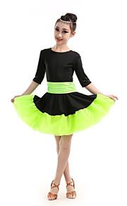 Latin Dance Children's Performance Polyester Color Block Dresses Dance Costumes