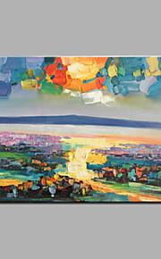 la puesta del sol pintura al óleo sobre lienzo de pintura acrílica en camilla con China abeto de madera