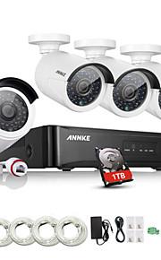 annke® nieuwe 4ch cctv nvr systeem poe nvr 1080p video ourput 1080p weerbestendige cctv ip camera beveiligingssysteem met 1TB