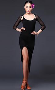 Latin Dance Dresses Women's Performance Tulle / Viscose Draped 1 Piece Black / Red