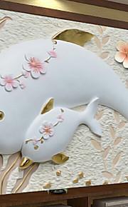 아트 데코 벽지 콘템포라리 벽 취재,기타 A Large Mural Wallpaper Dolphin Carvings
