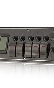 waterdichte boot rocker schakelpaneel 5 bende rode led-indicator LCD voltmeter