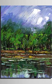 녹색 숲 순수 손의 미니 사이즈 전자 홈 유화 현대 연못 측면 틀 장식 그림을 그립니다