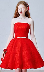 Short/Mini Lace Bridesmaid Dress-Ruby / Ivory Ball Gown Strapless