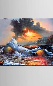 미니 사이즈 전자 홈 유화 현대 바다 물결 순수 손 틀 장식 그림을 그립니다