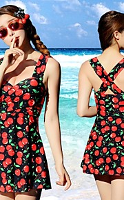 Women's Bandeau One-pieces / Cover-Ups,Floral Padded Bras Cotton / Spandex Red