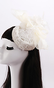 Women's / Flower Girl's Lace / Feather / Imitation Pearl / Net Headpiece-Wedding / Special Occasion Fascinators 1 Piece