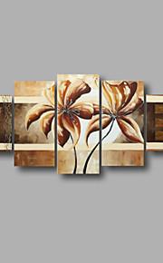 "estirada (listo para colgar) pintura al óleo pintado a mano 60 ""x32"" flores modernas pared de lona de arte marrón negro"