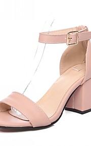 Черный / Розовый / Белый / Бордовый-Женская обувь-Свадьба / Для офиса / Для вечеринки / ужина-Дерматин-На толстом каблуке-С открытым