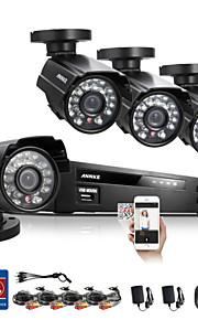 annke® 8-kanals cctv-system 960h dvr 4stk 800tvl ir vejrbestandige udendørs cctv kamera hjem sikringssystem overvågning kits