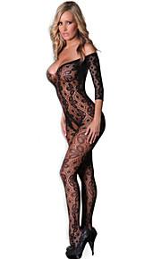 Black Lace Floral Open Tight Super Decollete Bodystockings