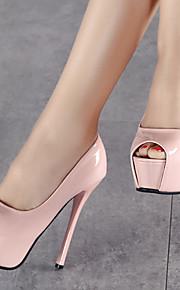 Черный / Розовый / Белый-Женская обувь-Для праздника / Для вечеринки / ужина-Лакированная кожа-На шпильке-На каблуках / С открытым носком