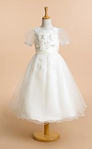 Lanting Bride A-vonalú Tea-hossz Virágoslány ruha - Csipke / Tüll Rövidujjú Mély dekoltázs val vel Virág(ok) / Csipke