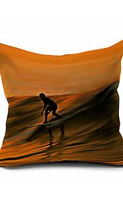 Walker of Waves Cotton/Linen Pillow Cover Nature Modern/Contemporary Pillow Linen Cushion