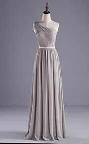 Floor-length Chiffon / Charmeuse Bridesmaid Dress-Silver A-line One Shoulder