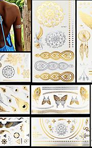 8pcs Gold Silver Butterfly Feather Evil Eye Totem Temporary Flash Metallic Tattoos Sticker Waterproof