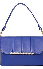 Women PU Shell Tote-Pink / Blue / Red / Black