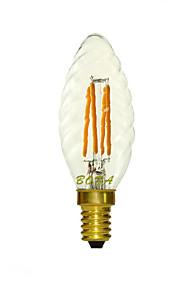 1 stk. NO E14 3W 4 COB 150-260 lm Varm hvit C35 Dimbar / Dekorativ LED-lysestakepærer AC 220-240 V