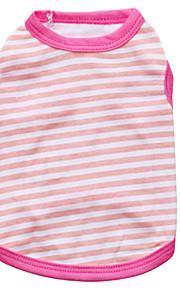 Kissat / Koirat T-paita Vihreä / Sininen / Pinkki / Keltainen Kesä / 봄/Syksy 스트라이프 Muoti-Pething®