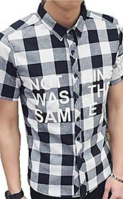 Camisa De los hombres Casual A Cuadros-Algodón-Manga Corta