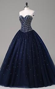 ts couture® formale sera vestono una linea senza spalline pavimento-lunghezza raso / tulle con perline