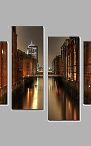 Landskap / Arkitektur Canvastryck Fyra paneler Redo att hänga,vilken form som helst