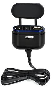 jtron motorcykel / bil oplader m / sikkerhedssele switch / dual-usb - sort