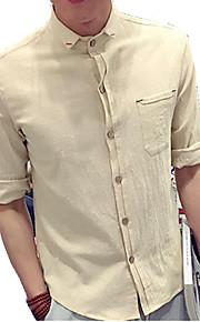Camisa De los hombres Casual Un Color-Lino-Manga Corta