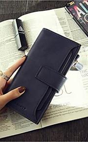 Women PU Tri-fold Wallet-Red / Gray / Black