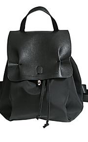 Women PU Bucket Backpack-Black