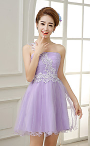 Knee-length Satin / Tulle Bridesmaid Dress-Lilac / Lavender / Pearl Pink / White / Champagne A-line One Shoulder