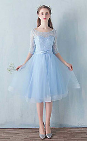 Knee-length Lace / Tulle Bridesmaid Dress-Sky Blue A-line Scoop